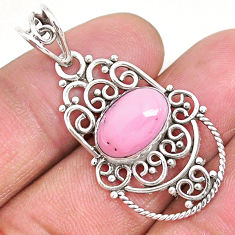925 sterling silver 4.06cts natural pink queen conch shell oval pendant r94017