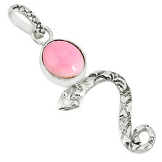 925 sterling silver 3.76cts natural pink queen conch shell snake pendant r78410