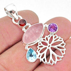 925 sterling silver 8.94cts natural pink rose quartz amethyst pendant r96372
