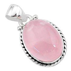 925 sterling silver 10.27cts natural pink rose quartz oval shape pendant r96479