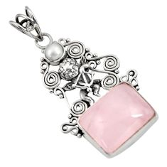 Clearance Sale- 925 sterling silver 16.09cts natural pink rose quartz pearl angel pendant d39407