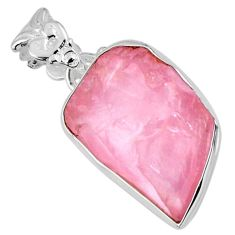 925 sterling silver 13.70cts natural pink rose quartz rough fancy pendant r56566