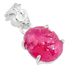 925 sterling silver 10.16cts natural pink ruby rough fancy pendant r82924