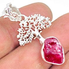 925 sterling silver 5.82cts natural pink ruby raw tree of life pendant r80868