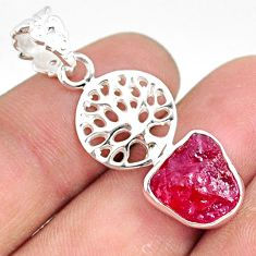 925 sterling silver 5.23cts natural pink ruby raw tree of life pendant r80875