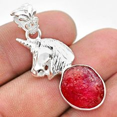 925 sterling silver 7.13cts natural pink ruby rough unicorn pendant t30953
