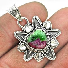 925 sterling silver 5.38cts natural pink ruby zoisite heart pendant t56078