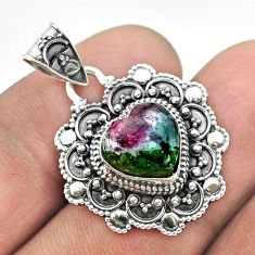 925 sterling silver 5.38cts natural pink ruby zoisite heart pendant t56110