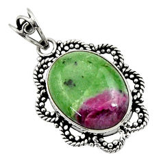 925 sterling silver 15.16cts natural pink ruby zoisite oval pendant d44709
