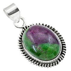 925 sterling silver 17.67cts natural pink ruby zoisite oval pendant t44763