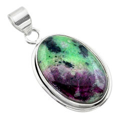 925 sterling silver 17.65cts natural pink ruby zoisite oval pendant t44773