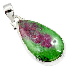 925 sterling silver 19.07cts natural pink ruby zoisite pear pendant r36299
