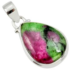 925 sterling silver 15.43cts natural pink ruby zoisite pear pendant r36303
