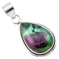 925 sterling silver 15.65cts natural pink ruby zoisite pear pendant t44770