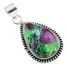 925 sterling silver 21.45cts natural pink ruby zoisite pear pendant t44791