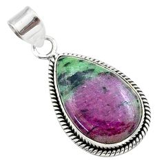 925 sterling silver 18.68cts natural pink ruby zoisite pear pendant t44810