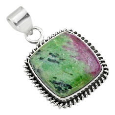 925 sterling silver 18.79cts natural pink ruby zoisite pendant jewelry t44779