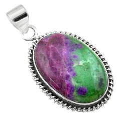 925 sterling silver 22.87cts natural pink ruby zoisite pendant jewelry t44785