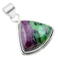925 sterling silver 18.15cts natural pink ruby zoisite pendant jewelry t44800