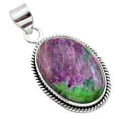 925 sterling silver 19.72cts natural pink ruby zoisite pendant jewelry t44804