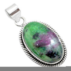 925 sterling silver 20.07cts natural pink ruby zoisite pendant jewelry t44808