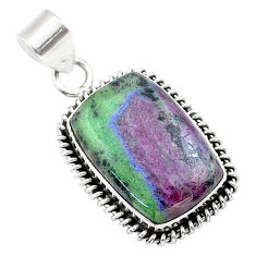 925 sterling silver 17.57cts natural pink ruby zoisite pendant jewelry t44816