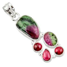 Clearance Sale- 925 sterling silver 13.09cts natural pink ruby zoisite red garnet pendant d43144