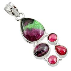 925 sterling silver 13.26cts natural pink ruby zoisite red garnet pendant d43147