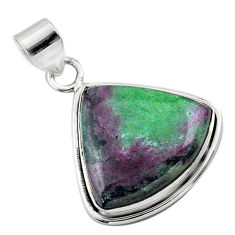 925 sterling silver 19.72cts natural pink ruby zoisite trillion pendant t44799