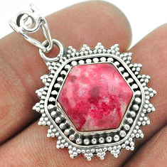 925 sterling silver 6.58cts natural pink thulite hexagon pendant jewelry t55998