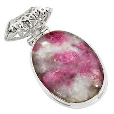 Clearance Sale- 925 sterling silver 18.68cts natural pink tourmaline in quartz pendant d39328
