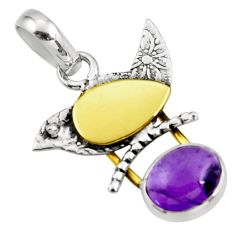 925 sterling silver 4.06cts natural purple amethyst 14k gold pendant r37132