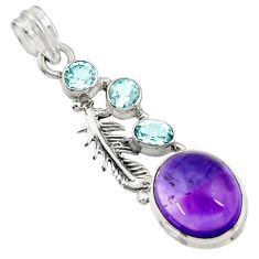 925 sterling silver 10.70cts natural purple amethyst blue topaz pendant d43628