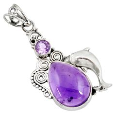 925 sterling silver 14.12cts natural purple amethyst dolphin pendant d39474