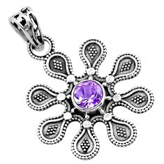 925 sterling silver 1.21cts natural purple amethyst flower pendant t48480