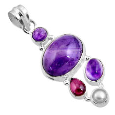 Clearance Sale- 925 sterling silver 13.36cts natural purple amethyst garnet pearl pendant d43867