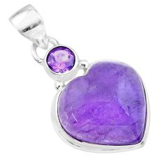 925 sterling silver 13.30cts natural purple amethyst heart pendant t19350