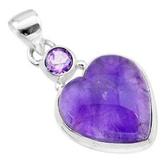 925 sterling silver 14.10cts natural purple amethyst heart pendant t19357