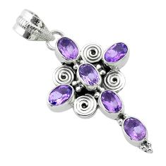 925 sterling silver 6.10cts natural purple amethyst holy cross pendant t52913