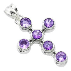 925 sterling silver 5.63cts natural purple amethyst holy cross pendant t52960