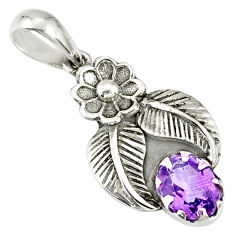 925 sterling silver 2.09cts natural purple amethyst oval flower pendant r77744