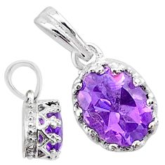 925 silver handmade 2.07cts natural purple amethyst oval pendant jewelry t16779