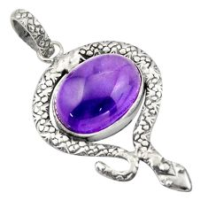 925 sterling silver 10.02cts natural purple amethyst oval snake pendant d47279