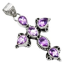 925 sterling silver 9.86cts natural purple amethyst pear cross pendant d44764