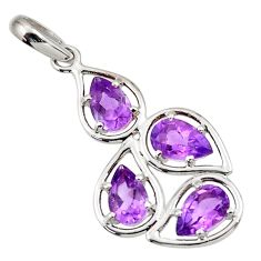 925 sterling silver 7.17cts natural purple amethyst pear pendant jewelry d45604
