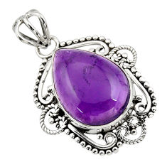 925 sterling silver 11.73cts natural purple amethyst pear pendant jewelry r32304