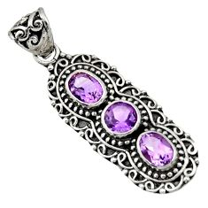 Clearance Sale- 925 sterling silver 4.21cts natural purple amethyst pendant jewelry d44808