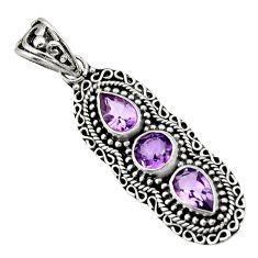 Clearance Sale- 925 sterling silver 4.54cts natural purple amethyst pendant jewelry d44812