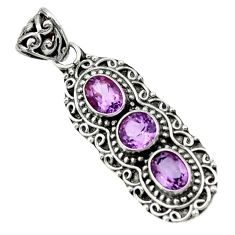 925 sterling silver 5.60cts natural purple amethyst pendant jewelry d44836
