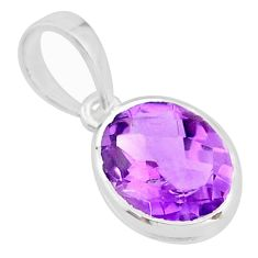 925 sterling silver 4.16cts natural purple amethyst handmade pendant r82647